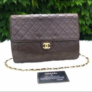 Authentic vintage dark brown Chanel shoulderbag